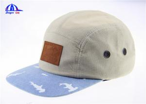China Wholesale Fashion 5 Panel Camp Cap In Corduroy Fabric and Leather Patch On Front on sale