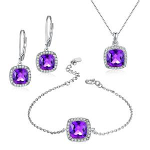 China Natural Amethyst 925 Silver Gemstone Jewelry Earrings Bracelet Pendant Necklace on sale