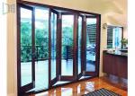 Fire Proof Aluminium Bifold Patio Doors , Residential Folding Doors With Louver Inside