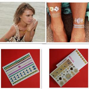 China Professional Custom Gold And Silver Temporary Glitter Tattoo Stickers supplier