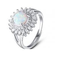 White Micro Pave Setting 925 Sterling Silver Opal Ring Luxurious Engagement Rings