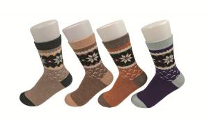 China Odor Resistant Brown Knitted Thermal Wool Socks With Breathable Absorbent on sale