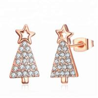Wholesale Fashion Jewelry Star Zircon Earring Gold Plated Christmas Tree Earrings