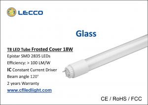 China Commercial 6000k 4 Foot T8 Led Fluorescent Tube Lights Glass 360 Degree Beam Angle on sale