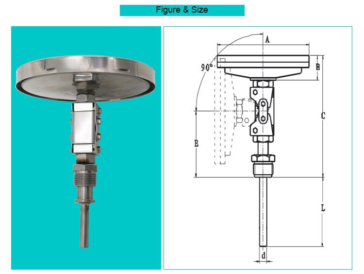 Universal angle 100mm bimetallic temperature sensors