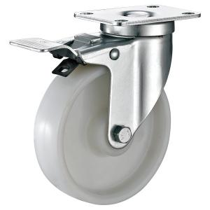 China Plate Brakes Industrial Shelving Casters , Small Nylon Metro Rack Wheels on sale