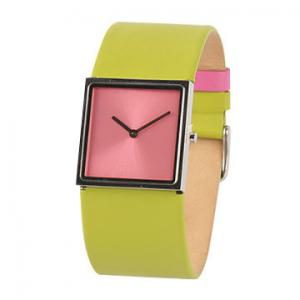 China Square Stainless Steel Watches Leather Band For Ladies , Quartz Hand Watch on sale