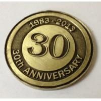 China Custom metal annivesary coins, OEM antique brass plated 30th anniversary coins, MOQ300pcs on sale