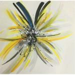 Modern Hand Painted Flower Paintings Fashion Square Abstract Art Canvas Paintings