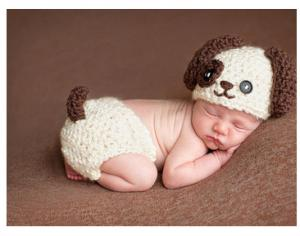 China coffee dog cartoon baby hat cap Baby Animal Hat Cap Baby Crochet  Knitted costume set b0c263c08148