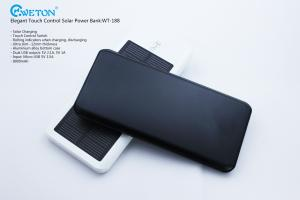 China Touch Control Dual USB Portable Solar Power Bank Black 7200mAh on sale
