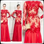 Red Zuhair Murad Long Evening Party Dresses Lace Chiffon Prom Party Gowns Sleeves