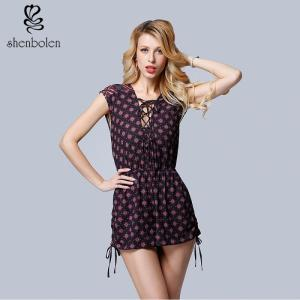 China Summer Sleeveless, Sexy V-neck Wave Point Women Casual Shorts, A Rope Beside Him on sale