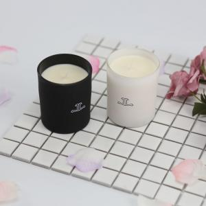 China Glass Scented Jar Candle Matte White / Black Painting With Customized Packaging on sale