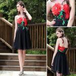Os vestidos de noite do corpete sem alças curto das flores do estilo/damas de honra maduros vestem -82681
