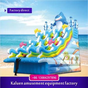 China six meters inflatable water slide, funny inflatable water slide pool for children, tropical PVC water slide on sale