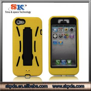 China two tone case PC+silicone cover with stand case for iphone5 on sale