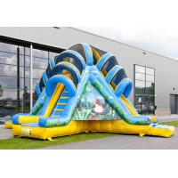 Double Lane Valcano Jungle Large Inflatable Slides With Climb