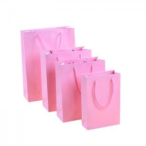 China Personal logo printing ladies underwear Pink color paper shopping bag on sale