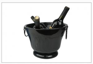 China Metal powder coating Wine Bottle Cooler Drink Chiller Champagne Ice Bucket Bar Tools, wine cooler, open mouth, black on sale
