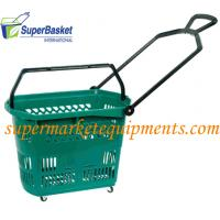 Supermarket PP Rolling Shopping Basket / Cart with Four Wheels Model-33L, 495x365x370mm