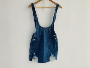 China Fashion Ladies Denim SKIRT / Light wash Denim suspender skirt TM7066 on sale