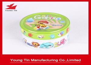 China Small Round Logo Embossed Tin Boxes For Children Cards Games Toy Packaging on sale