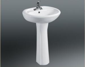 China Ceramic Pedestal Basin With Single Tap Hole , Floor Mounted Toilet Sanitary Ware on sale