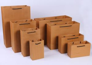China Portable Brown Kraft Paper Gift Bags , Gift Kraft Paper Shopping Bags on sale