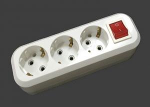 China 3500W 220V - 250V Electric Extension Cord 3 Outlets ABS Material With Switch on sale