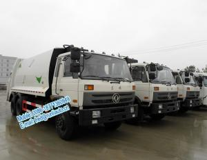 China Strong compressive force white color Dongfeng 6x4 11ton 16 - 18m3 garbage compactor truck with self loading at rear on sale