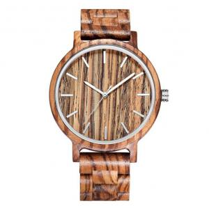China Mineral Glass Most Accurate Quartz Watch Natural Zebra Wood Color on sale