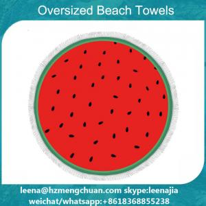 China printed round beach towel with tassel on sale