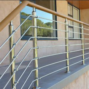 China Rod bar balustrade stainless steel railing with wood handrail on sale