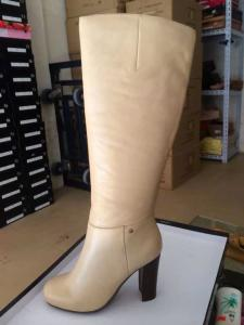 China 2014 fresh knee length brand booties stock,Thomas Munz lady beige leather winter long boot on sale