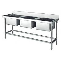 Commercial Stainless Steel Sink Three Bowl 1800*700*800+150mm Thick 1.2mm