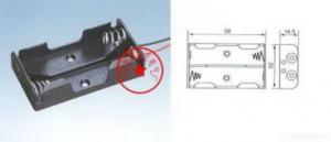 China 2 Aa Battery 3v Holder Box Case Lead Black Plasticholder Cell Box on sale