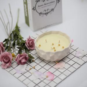 China Custom Logo Scented Soy Wax Candle Ceramic Marbled Jar Scented 3 Wick Soy Candle on sale
