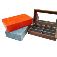 China Leather 6 Slot Wooden Lid Spectacles Sunglasses Storage Display Box With Mirror on sale