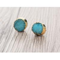 China Blue Faux Druzy Small Stud Earrings For Druzy Stone Jewelry , Christmas Gift on sale