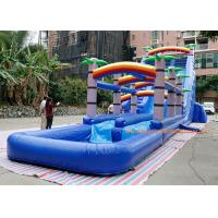 water slide factory PVC Tarpaulin  coconut tree inflatable commercial slide with pool  For Event inflatable Bounce Slide