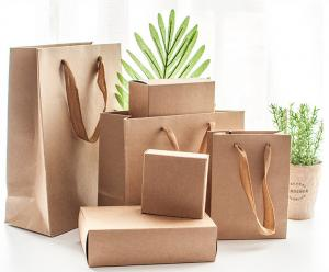 China DIY Printing Small Drawer Brown Kraft Paper Gift Bags With Cover on sale