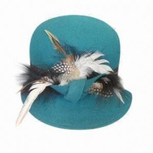 China Ladies wool felt hat, feather on sale
