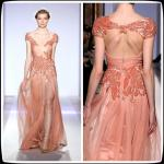 Coral Zuhair Murad Prom Gowns Lace Beaded Chiffon Long Celebrities Evening Dresses