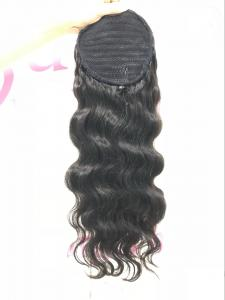 China High Tail Afro Hair Ponytail Extension Human Hair Weave Black No Chemical on sale