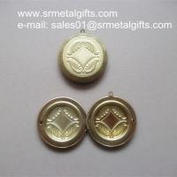 "2"" brass locket box compact, openable 2 inch solid brass photo locket compacts"