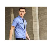 Polyester Cotton Short Sleeves Work Uniforms Sky Blue Twill Engineer Uniform