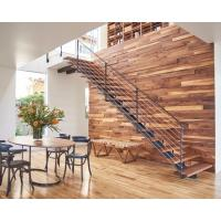 Solid Wood / Glass Tread Modern Straight Staircase Stainless Steel Handrail