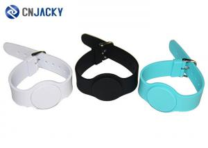 China Silk Printing Adjustable RFID Chip Bracelet , NFC Silicone Wristband For Events on sale