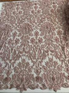 China Bridal Pearl Heavy Beaded Lace Fabric , Wedding Dress Beaded Embroidered Lace on sale
